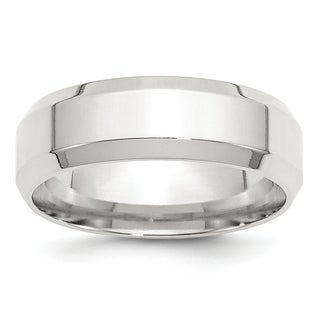 Sterling Silver 7mm Bevel Edge Band
