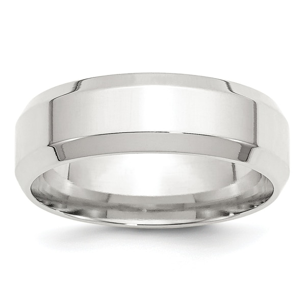 Sterling Silver 7mm Bevel Edge Band - White