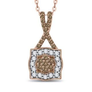 10K Rose Gold 1/2ct TDW White and Brown Diamond Fashion Pendant (G-H, I2-I3)
