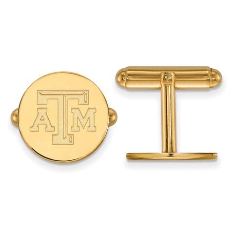 14 Karat Yellow Gold LogoArt Texas A&M University Cuff Links