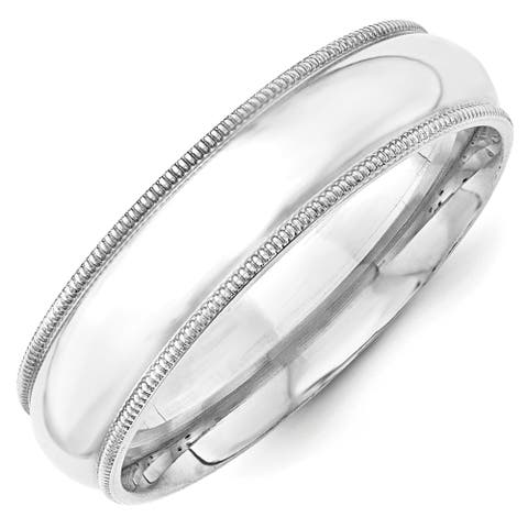 14K White Gold 6mm Polished Milgrain Comfort Fit Band by Versil