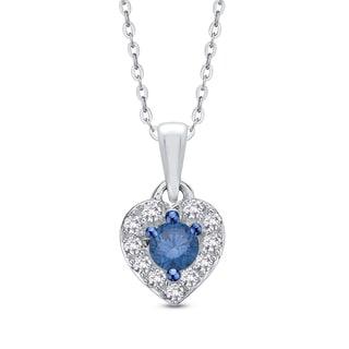 10K White Gold 1/4ct TDW White and Blue Diamond Heart Pendant (G-H, I2-I3)