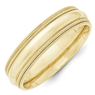 Link to 10K Yellow Gold Polished 6mm Double Milgrain Comfort Fit Band by Versil Similar Items in Rings