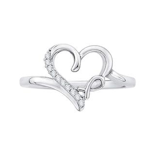 14K White Gold Diamond Accent Bow and Heart Ring (J-K, I1-I2)