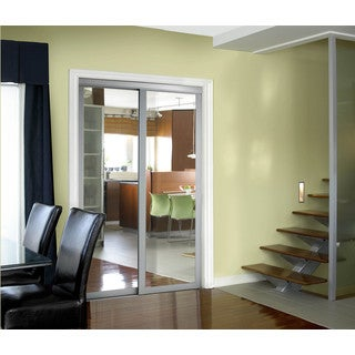 Pinecroft Urban Silver Frame Sliding Mirror Door