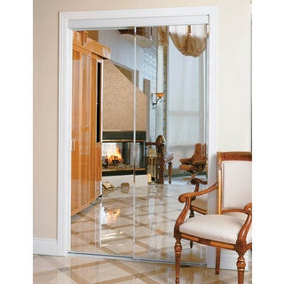 Pinecroft Bevelled Mirror Sliding Door with White Frame