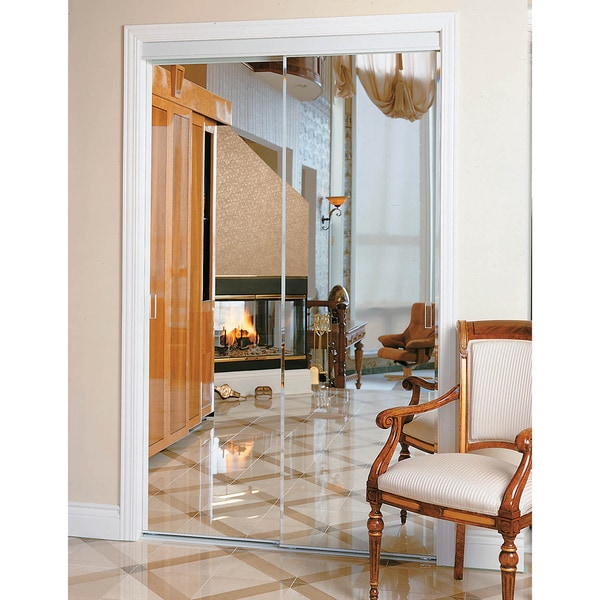 Pinecroft Bevelled Mirror Sliding Door with White Frame. Opens flyout.