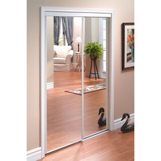 Pinecroft Euroframe Mirror Sliding Door with White Frame