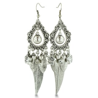 Smiling Star Silver Tone Dangle Leaf Chandelier Earrings, 3 1/2 Inches