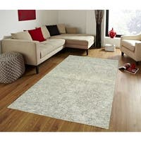LR Home Karma Blue Wool Damask Area Rug ( 8' x 10' ) - 8' x 10'
