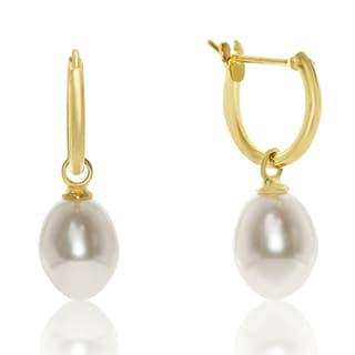 Teardrop Freshwater Pearl Hoop Earrings In Yellow Gold Over Sterling Silver