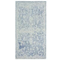 LR Home Hand Tufted Karma Arabesque Navy Wool Rug - 9' x 12'