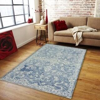 """LR Home Karma Navy Wool Indoor Area Rug (5' x 7'9) - 5' x 7'9"""""""