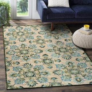 LR Home Lavish Beige/Blue Wool Floral Area Rug (9' x 12')