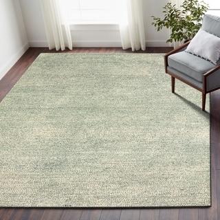 LR Home Pin Dot Blue Wool Indoor Area Rug (9' x 12') - 9' x 12'