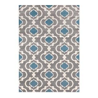 Moroccan Trellis Contemporary Grey, Blue Indoor Area Rug (7'10 x 10'2)