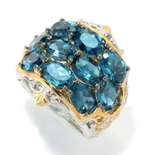 Michael Valitutti Palladium Silver London Blue Topaz Three-Row Wide Band Ring