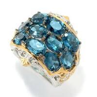 Michael Valitutti Palladium Silver London Blue Topaz Three-Row Wide Band Ring