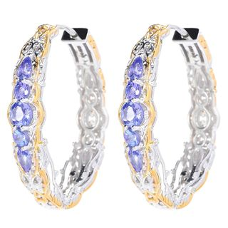 Michael Valitutti Palladium Silver Multi Shape Tanzanite Hoop Earrings