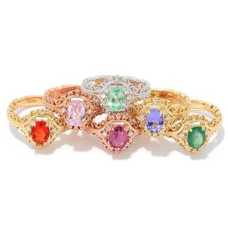 Michael Valitutti 14k Gold Exotic Gemstone and Diamond Ring