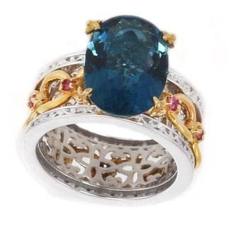 Michael Valitutti Palladium Silver Oval London Blue Topaz & Pink Sapphire Chain Link Ring