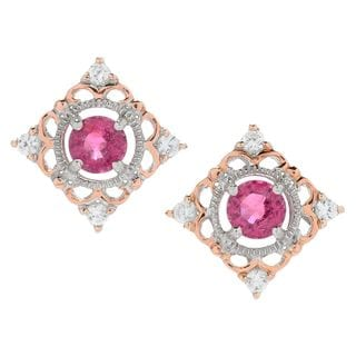 Michael Valitutti Palladium Silver Rubellite & White Zircon Diamond Shaped Stud Earrings