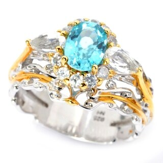 Michael Valitutti Palladium Silver Blue Zircon & Multi Gemstone Halo Ring