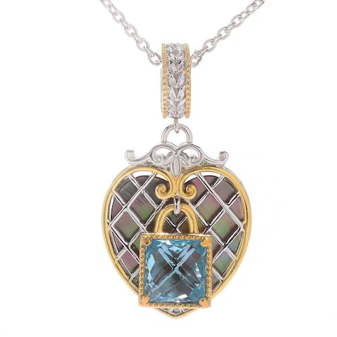 Michael Valitutti Palladium Silver Paris Love Locks Mother-of-Pearl & Sky Blue Topaz Heart Charm Pendant