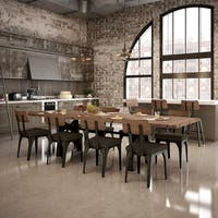 Carbon Loft Kettering Metal Chairs and 84-inch Table with leaves Dining Set