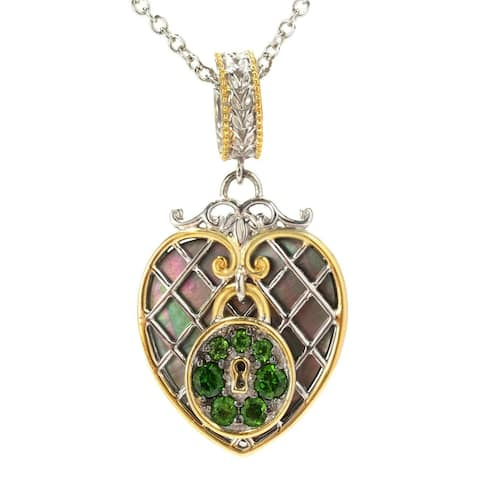 Michael Valitutti Palladium Silver Paris Love Locks Mother-of-Pearl & Chrome Diopside Heart Charm Pendant