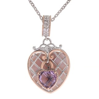 Michael Valitutti Palladium Silver Paris Love Locks Mother-of-Pearl & Pink Amethyst Heart Charm Pendant