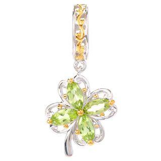 Michael Valitutti Palladium Silver Marquise Peridot Four-Leaf Clover Drop Charm