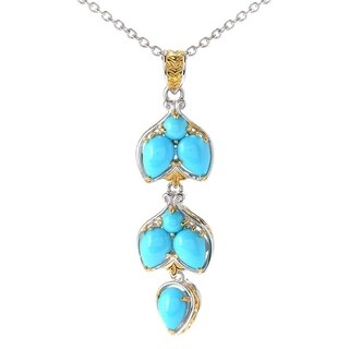 Michael Valitutti Palladium Silver Multi Shape Sleeping Beauty Turquoise Leaf Pendant
