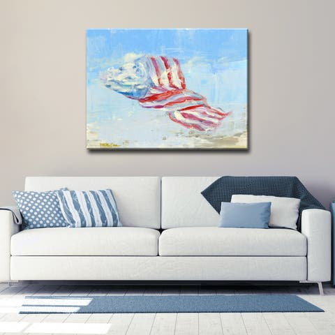 'Wind Blown Flag' Ready2HangArt Canvas by Dana McMillan