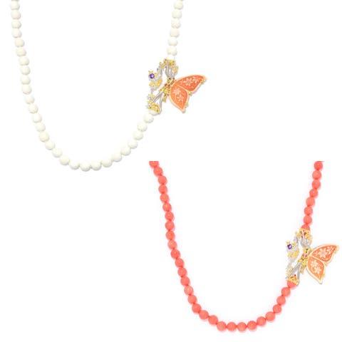 Michael Valitutti Palladium Silver Carved Shell Cameo, Coral Bead & Multi Gemstone Fairy Necklace