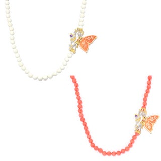 Michael Valitutti Palladium Silver Carved Shell Cameo, Coral Bead & Multi Gemstone Fairy Necklace