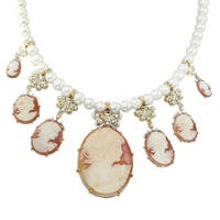 Michael Valitutti Palladium Silver Shell Cameo & Freshwater Cultured Pearl Necklace
