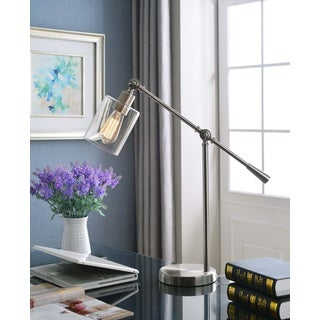 Design Craft Thomas Brushed Steel Adjustable Desk Lamp