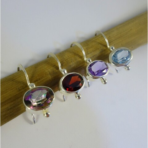 Handmade Petite Hanging Sterling Silver Earrings with Stones (Indonesia)