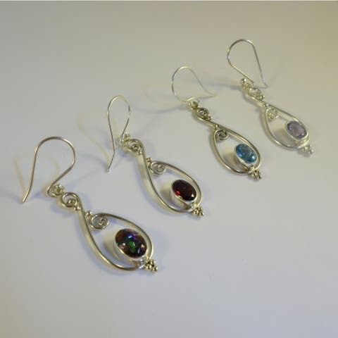 Handmade Swirling Sterling Silver Gemstones Earrings (Indonesia)