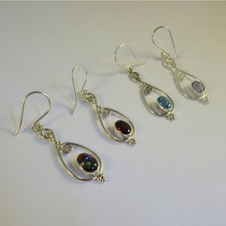 Handmade Swirling Sterling Silver Earrings with Stones (Indonesia)