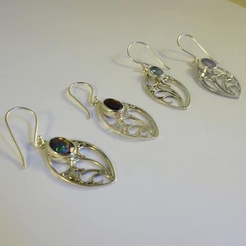 Handmade Nouveau Sterling Silver Gemstones Earrings (Indonesia)