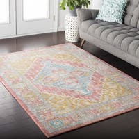 Hali-House Distressed Persian Vintage Pink and Blue Area Rug - 3'11 x 5'7