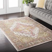 Hali-House Distressed Persian Vintage Pink and Cream Area Rug - 3'11 x 5'7