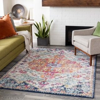 "Distressed Bohemian Multicolor Medallion Area Rug - 3'11"" x 5'7"""