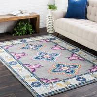 Haute-Hali Persian Boho Grey/ Blue Area Rug - 3'11 x 5'7