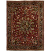 Herat Oriental Persian Hand-knotted Mashad Wool Rug (9'6 x 12'10)