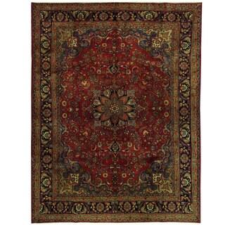 Handmade Herat Oriental Persian Mashad Wool Rug (Iran) - 9'10 x 13'