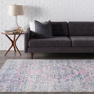 Haute-Hali Persian Distressed Pink/ Blue Rug (5'3 x 7'3)