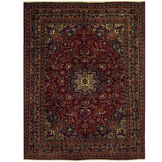Herat Oriental Persian Hand-knotted Mashad Wool Rug (9'8 x 12'9)